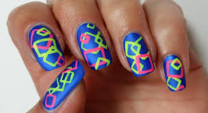 geometric nail art freehand neon design youtube