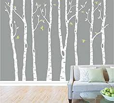 Tree Decal For Nursery Wall Set Of 8 White Birch Tree Wall Decal Nursery Tree Wall