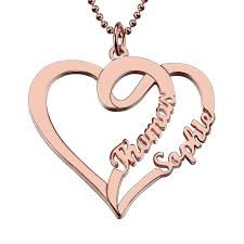 double name necklace images Double heart name necklace 18k rose gold plated jpg