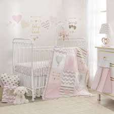 lambs u0026 ivy baby love heart 3 piece crib bedding set pink gold