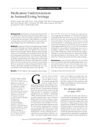 medication undertreatment in assisted living settings geriatrics