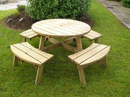 Round Redwood Picnic Table by Round Picnic Table With Attached Benches Starrkingschool