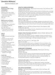 Web Producer Resume Resume U2013 Demetra Maheras
