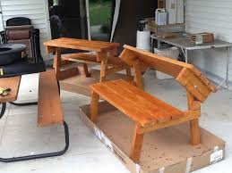 picnic table converts to bench ana white picnic table that converts to benches cedar finish