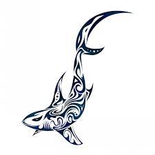 tribal shark in blue color tattoo design by dessins fantastiques