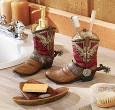 cowgirl home decor theme bathroom decor pair of cowboy boots u0026 hat bath accessories
