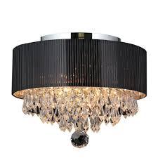 Crystal And Black Chandelier Crystal Flushmount Lights Ceiling Lights The Home Depot