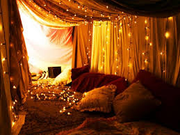 fairy lights in room