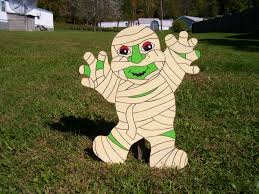halloween mummy outdoor wood yard art lawn decoration