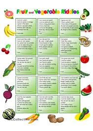 fruit and vegetables riddles with key english worksheets
