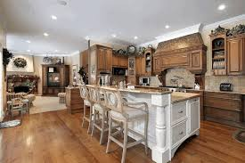 Wood Kitchen Cabinets With Wood Floors by White Wooden Kitchen Island With Bar Expansion Brown And Gray