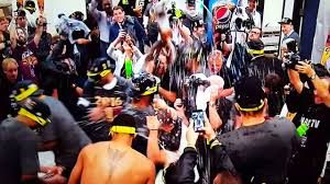 cleveland cavaliers champagne celebration in locker room