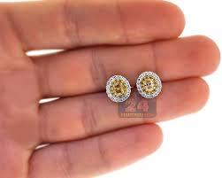 stud earrings for women womens canary diamond stud earrings 14k white gold 1 25 ct