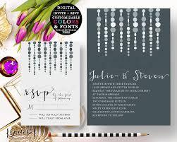 silver wedding invitation printable wedding invitations gray