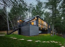 Cabin Modern Prefab Cabin In Quebec Uses Innovative Wood Panels