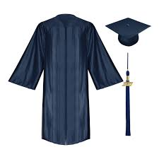 college graduation cap and gown shiny navy blue high school cap gown tassel gradshop