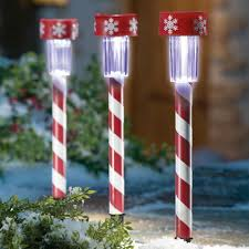 Outdoor Christmas Decorations Candy Canes by 3 Christmas Peppermint Candy Cane Solar Light Stakes New