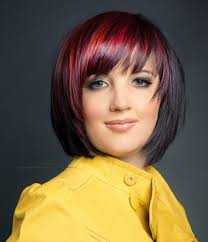 photo black and red bob haircuts pictures of bright red and black