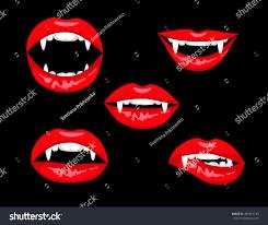 halloween set red vampire lips on stock vector 481851133