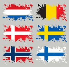 Scandanavian Flags Splash Flags Set Benelux U0026 Scandinavia Each In Separated Layer