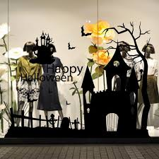 creative halloween haunted house glass wall stickers background