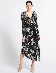 sleeve wrap dress floral print sleeve wrap dress per una m s