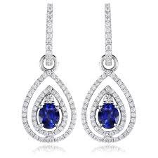 white gold dangle earrings 79ct diamond and blue sapphire 18k white gold dangle earrings
