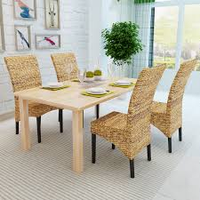 brown abaca handmade rattan dining chair set 4 pcs lovdock com