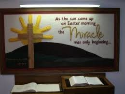 bulletin board for easter he is risen sunday