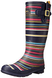 womens boots joules joules s welly print boot navy multi stripe 8 m us