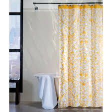 White Curtains With Yellow Flowers Shower Curtains Fabric Tahari Yellow Flower Scroll