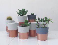 cement and copper plant pot diy cement plaster concrete