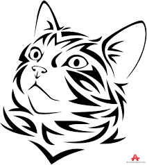 tribal tattoo design of cat face clip art library