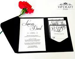 wedding pocket invitations black pocket fold wedding invitation set of 10 vip craft studio
