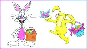 easter drawings how to draw easter bunny with eggs basket step