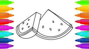 how to draw watermelon coloring pages fruit for children