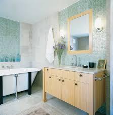 bathroom eco friendly minimalist simple decoration bathroom light blue tiles simple ideas design with wooden storage and concrete floor