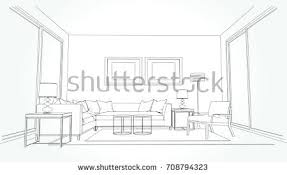 Living Room Design Drawing Pencil Sketch Of A Room Stock Images Royalty Free Images