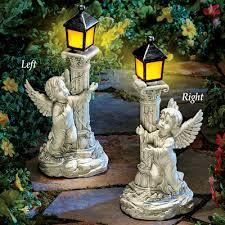 cherub garden statue with solar lantern from collections etc