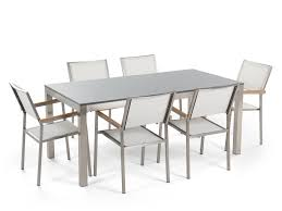White Chairs Dining Set 6 Seater Single Plate Grey Granite White Chairs
