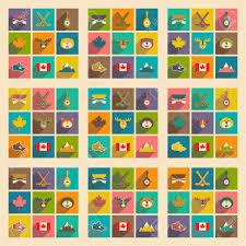 kanada fläche set flache ikonen mit langen schatten kanada lizenzfrei nutzbare