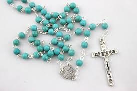 christian rosary wholesale 2015 fashion rosary turquoise jesus necklace pendant