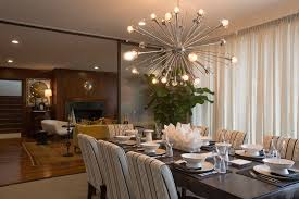 Chandeliers For Dining Room Contemporary Contemporary Dining Room With Crown Molding Chandelier In Tulsa