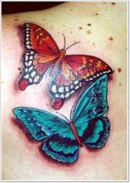 tiny and colorful butterfly tattoos on back shoulder photo 2