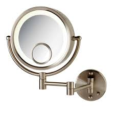 magnification mirror with light see all 8 in x 8 in round lighted direct wired wall mounted 7x and