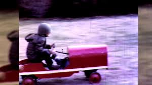 soldier boys play toy pedal car backyard 1950s vintage film home