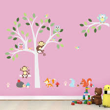 Wise Fox Squirrel Monkey Owls On White Tree Wall Stickers For Kids - Stickers for kids room