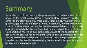 our town by thornton wilder summary set at the turn of the century