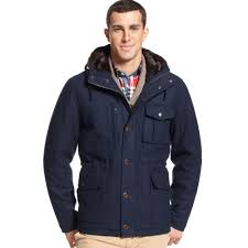tommy hilfiger marshall wool hooded jacket in blue for men lyst