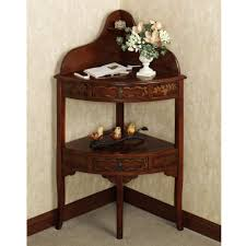 Foyer Table With Drawers Amazing Brown Varnished Oak Corner Accent Console Table With